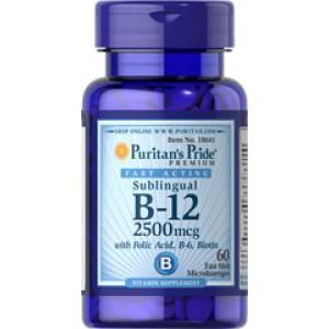 Puritan's Pride Витамин B-12 2500 мкг с фолиевой кислотой, витамином В6 и биотином 60 леденцов