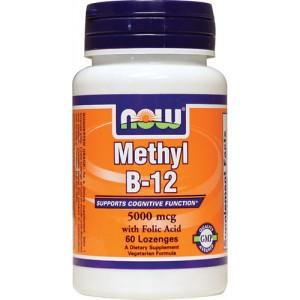 NOW Метил В12 (Methyl B-12) Метилкобаламин 5000 мкг 60 леденцов