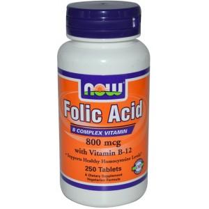 NOW Фолиевая кислота с витамином В12 (800 мкг) 250 таблеток
