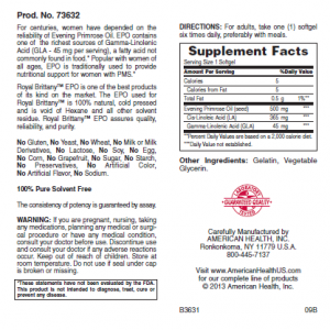 AMERICAN HEALTH Масло примулы вечерней 500 мг 200 капсул