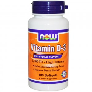 NOW FOODS Витамин D3 1000 МЕ 180 капсул