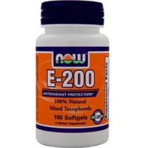 NOW E-200 Смешанные токоферолы 100 капсул