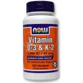 NOW Витамин D-3 и К-2 120 капсул