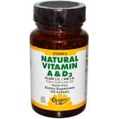 COUNTRY LIFE Натуральный витамин А и D3 (10000 МЕ/400 МЕ) 100 капсул