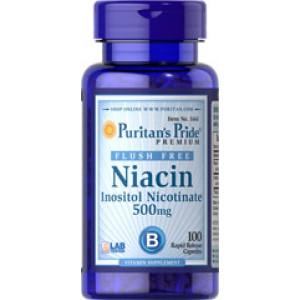 Puritan's Pride Ниацин без покраснения Инозитола никотинат 500 мг 50 капсул