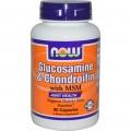 NOW Foods Глюкозамин, Хондроитин и Метилсульфонилметан MSM 90 капсул