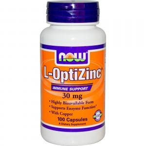 NOW Оптицинк (комплекс цинка и меди) 30 мг 100 капсул